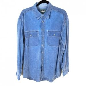 Woolrich Blue Distressed Button Down Faded Shirt L